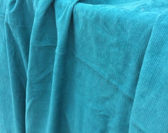 2 yds Blue green vintage corduroy fabric turquoise teal