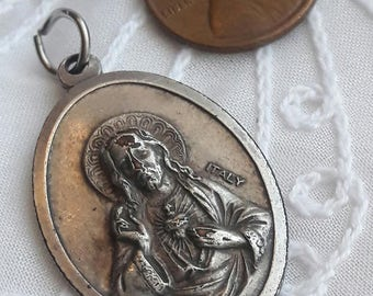 Italian Scapular Medal, Bas-Relief, Large Sacred Heart Jesus, Our Lady of Mount Carmel Silver, Vintage Medals, Devotion Protection, REDUCED