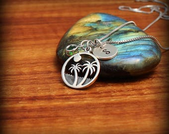 Surfer girl necklace, Palm tree jewelry, Beach necklace, Island necklace