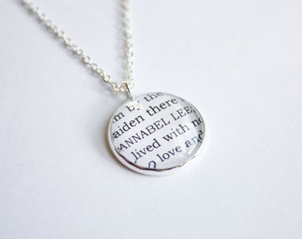 Edgar Allan Poe poem necklace. Nevermore. Annabel Lee. The Raven. Dream within a dream. Victorian. Personalized