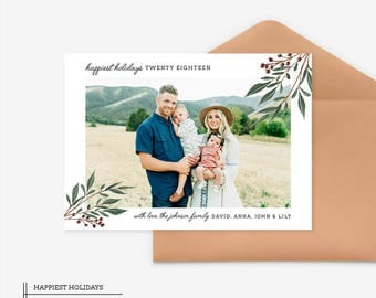 Christmas Card Template for photographers PSD Flat card - Christmas Card - Potoshop Template Template - CD052