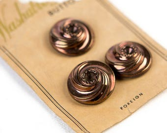 1950's Copper Swirl - Washable Glass Buttons  - on original card
