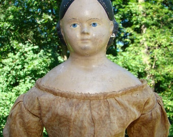 1800s Greiner Type Papier Mache Shoulder Head Doll 20 Inch Estate Find