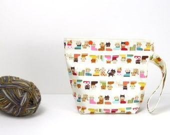 Cat sock knitting bag, cute snaps project bag, small crochet storage bag
