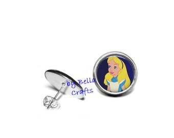Alice, Wonderland, Post, Earrings, 12mm, Epoxy Cabochons, Literary, Geeky, Nerdy, Gift Set