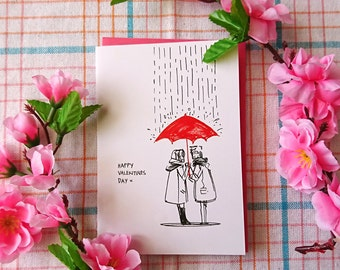Umbrella of LOVE greeting card ( A6 size )