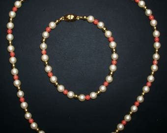 Vintage Classic MONET 16 Inch Choker Single Strand Faux Pearl, Coral and Gold Round Bead Necklace and 7 Inch Bracelet - Set