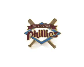 1988 PHILLIES Pin + FREE backs! MLB Baseball Collector Pin! New! Cloisonne Shiny Brass Metal Glossy Enamel Rare Vintage Retro Great Gift!