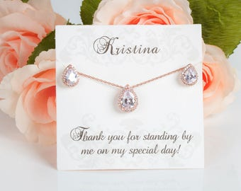 Rose Gold Sets | Bridesmaid Sets | Bridesmaid Jewelry | Bridal Sets | Bridesmaid Gifts | Personalized Gifts | Wedding Jewelry | Gifts