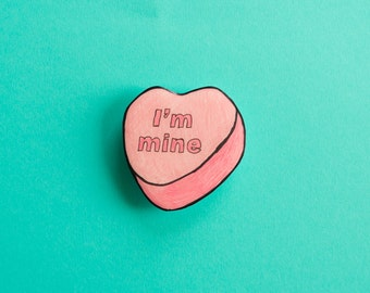 Valentines' Candy Heart pin