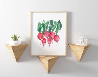 Radish Watercolor Print, Radish Vegetable Art, Radish Food Kitchen Decor, Food Wall Art, Vegetable Decor, Abstract Art Food, Radish Art