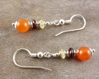 Earrings Garnet, citrine, Carnelian, sterling silver, earrings, gemstone earrings, red, orange, yellow, gemstone jewelry, earrings silver