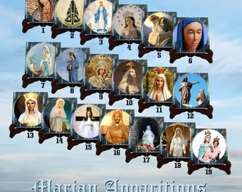 Marian Apparitions - 19 tiles collection - religious gifts - religious art - Virgin Mary icons - Virgin Mary art - devotional catholic gifts