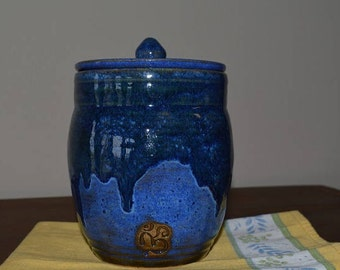Blue pottery canister, blue kitchen pottery, kitchen canister, urn, jar, kitchen storage, treat jar, storage jar