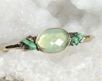 Bohemian Turquoise Cuff, Raw Turquoise Bracelet, Gold Turquoise Cuff, Raw Stone Bracelet, Gift For Her, Bohemian Jewelry, Cuff Bracelet