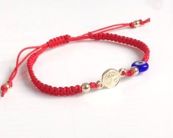 St Benedict Bracelet San Benito Medal bracelet, Protection Bracelet, St Benedict evil eye red string bracelet Medalla San Benito bracelet