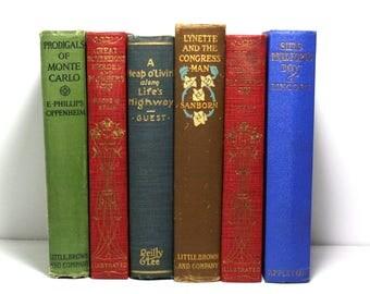 Antique Books, Vintage Books, Published 1905 to 1928, Old Books, Set of 6 Hardcover Books, Wedding Decor, Shabby Decor, Stage Decor