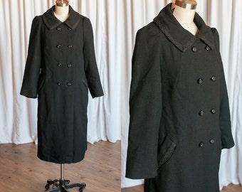 Delage coat | vintage 30s coat | 1930s black wool double breasted coat | 1930s long wool car coat | vintage doublebreasted coat | 1920s coat
