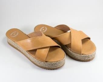 Lather Sandals, Handmade black color Platform / Espadrille sandals