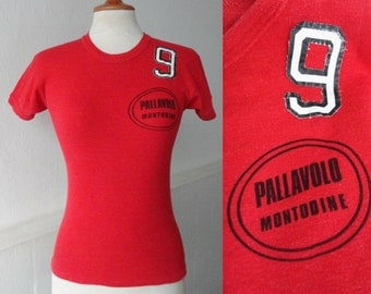 Red 70s Vintage T-Shirt // Pallavolo Montodine // Cotton
