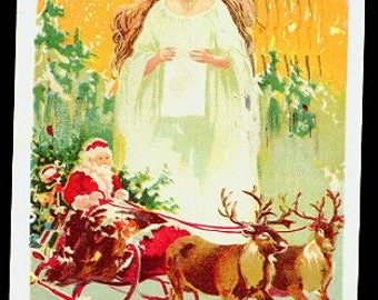 Santa Claus in Sleigh with Angel 1915 Postcard