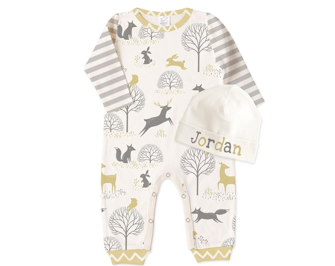 Personalized Newborn Boy Coming Home Outfit, Newborn Boy Outfit, Baby Boy Romper, Baby Boy Outfit, Woodland Baby, Scandinavian, TesaBabe