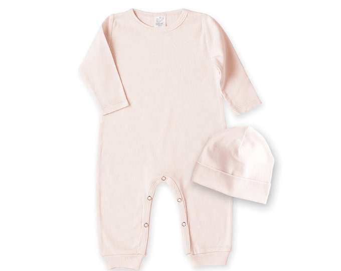 Pink Baby Girl Romper, Newborn Girl Take Home Bodysuit, Newborn Girl Take Home Outfit, Pink Baby Bodysuit, Baby Girl Pink Hat TesaBabe