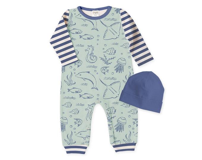 Newborn Boy Coming Home Outfit, Newborn Boy Outfit, Baby Boy Romper, Baby Boy Outfit, Baby Arrival Outfit, Baby Boy Beanie, Green, TesaBabe