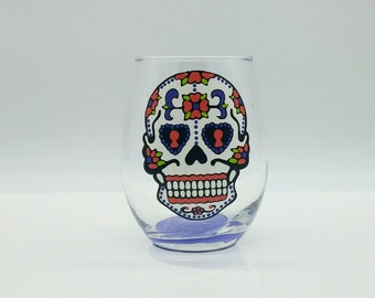 Sugar Skull Hand Painted Stemless Wine Glass Dia De Los Muertos Day of the Dead Pink Salmon, Turquoise, Green, Purple