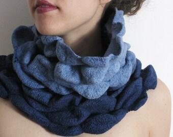 Nuno Felted Snood Scarf - wrinkled,  Blue Snood, Silk Wool Scarf, OOAK winter scarf, Design Scarf, Art
