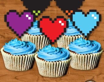 Pixel Heart Cupcake Toppers INSTANT download, Pixel Heart Cupcake Toppers, Undertale Souls, Gaming hearts