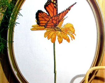 55%off//CROSS STITCH KITS// by Thea Gouverneur. Counted Cross Stitch kit of a Monarch Butterfly, Linen Background.//Was (35.00) Now!