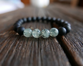 Frosted Onyx with Prehnite beads 8mm - Mala beads - The powerful protection duo