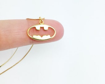 Small Batman necklace made with solid sterling silver and 18k gold