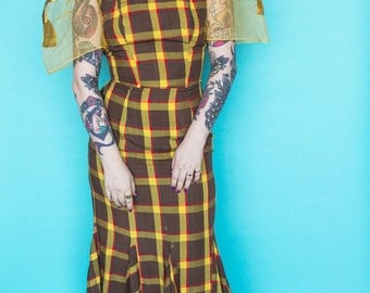 1940s Dress / 40s Plaid Dress / Filipino Terno Puff Sleeve Dress