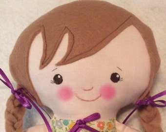 "Handmade Girl Cloth Doll 14"" Jennifer Plush Softie Rag Doll Floral Print Dress Light Brown Wool Felt Hair"