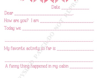 Camp stationary- Summer Camp stationary- Notes From Camp- Kids- Camp News- Camp Stationary