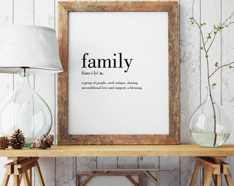 Family Definition Print | Wall Art Print | Wall Decor | Minimal Print | Family Print | Modern Print | Type Poster | INSTANT DOWNLOAD