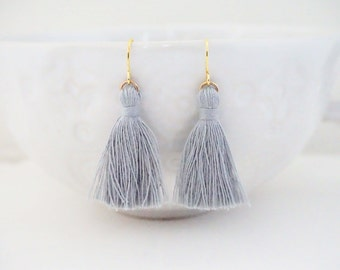 Light Grey and Gold Tassel Earrings