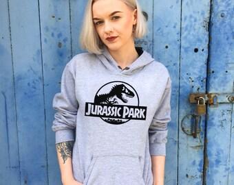 Vintage Style Jurassic Park Grey/Black Contrast Hoodie