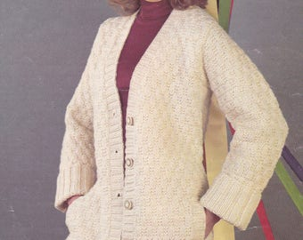 PDF cardigan vintage knitting pattern jacket lady's INSTANT download pattern only pdf chunky aran and DK
