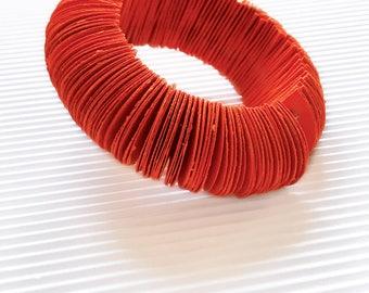 Orange bangle bracelet, paper jewelry, colorful bracelet, paper bracelet standard size, summer jewel