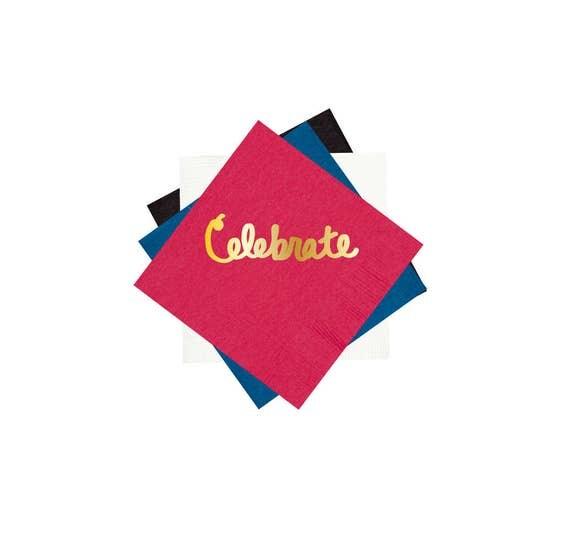 Foil stanped party napkins, cocktail napkins, celebrate party napkins, gold foil napkins, birthday party napkins, bar cart napkins