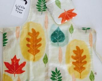 Apron, child's apron, role play, play apron, kitchen apron, apron and oven mitt, leaf print apron