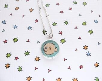 Fish Necklace, Cute Puffer Fish Pendant, Ocean Accessories, Sea Jewelry, Aquarium Fish, Funny Fish, Pet Lover Gift