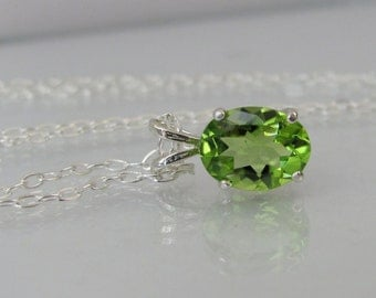Peridot Pendant in Sterling Silver, Peridot Necklace, 9x7mm Peridot Gemstone, August Birthstone, Bride Necklace, Wedding Jewelry