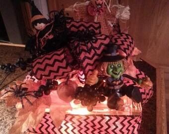 "Halloween Lighted Glass Block ""Auntie Em.....Auntie Em"""