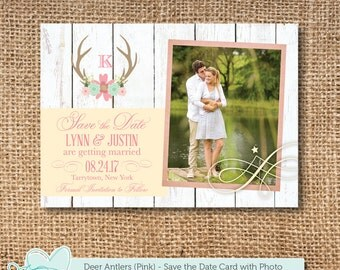 Deer Antlers Pink Save The Date Card with Photo Printable, Save our Date, Picture, Getting Married, Tying the Knot, Wood, 11D