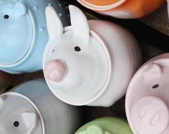 Cute Rabbit Jar - Sugar Bowl - Cookie Jar - Ceramic Rabbit - Funny Rabbit - Pottery Jar - Ceramic Jar - White Rabbit - Sugar Pot - Bunny