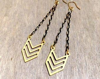 Arrow Chevron Modern Design Trendy Geometric Elegant 16k Gold plated Raw Brass Drop, Fringe, Tasseled, tassels, Multi Chain long Earrings
